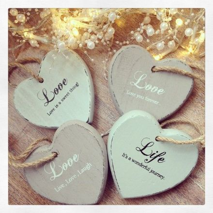 Reduced Tonal Rustic Hanging Wooden Heart Decoration- Love